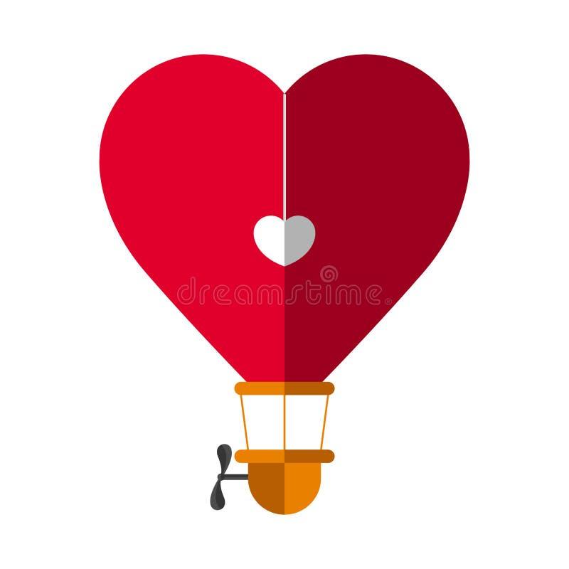 Hjärta formad ballong för varm luft royaltyfri illustrationer