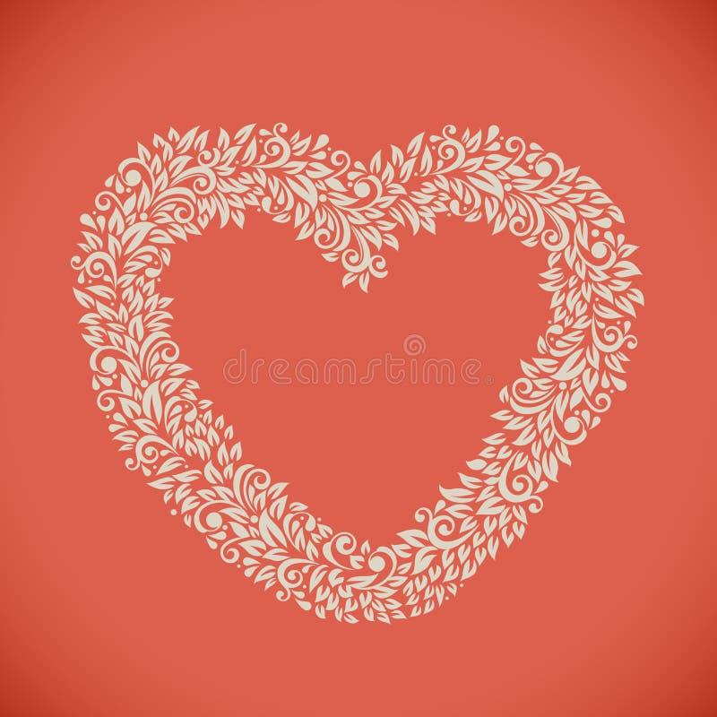 Hjärta formad blom- ram royaltyfri illustrationer