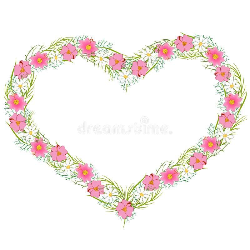 Hjärta-formad blommakrans royaltyfri illustrationer