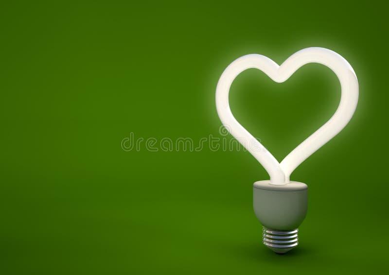 Hjärta formad energi - sparande ljus kula stock illustrationer