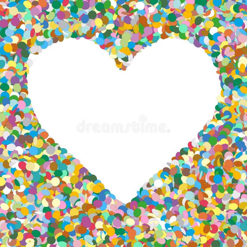 Hjärta formad färgglad bakgrund för vektorkonfettihög med fritt royaltyfri illustrationer