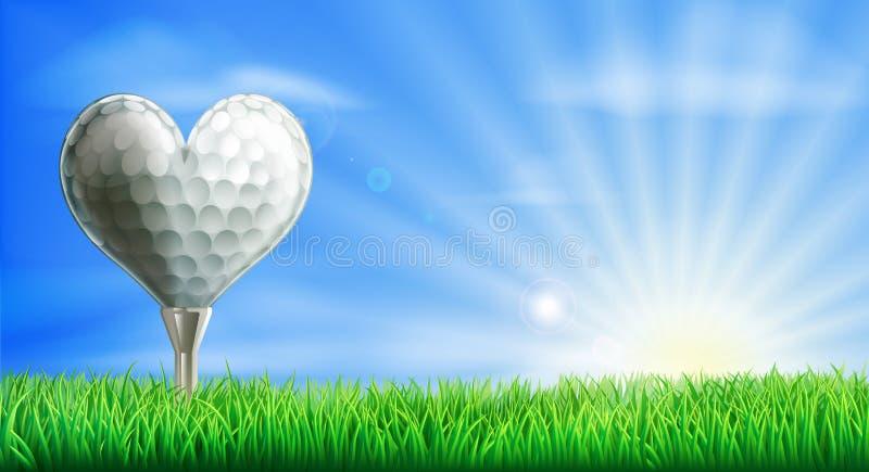 Hjärta formad golfboll royaltyfri illustrationer