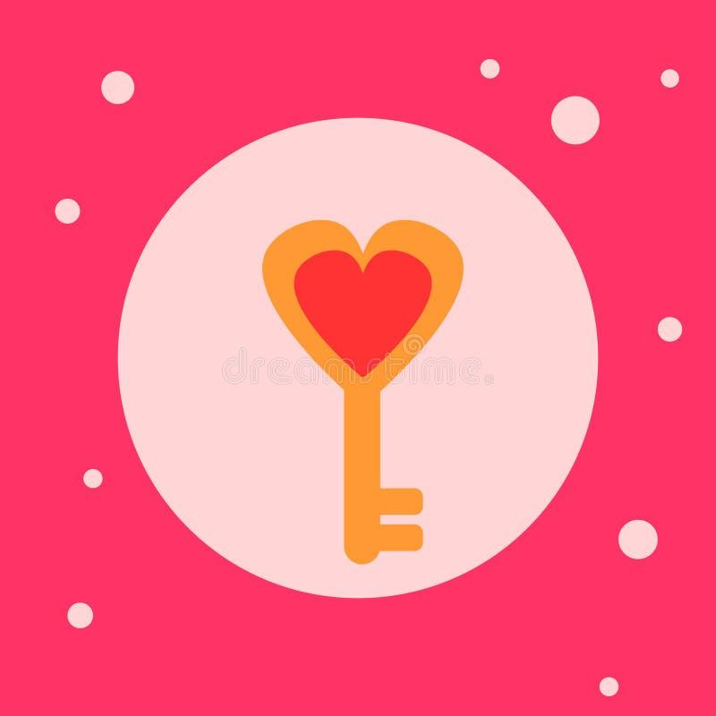 Hjärta formad nyckel- symbol på rosa bakgrund stock illustrationer