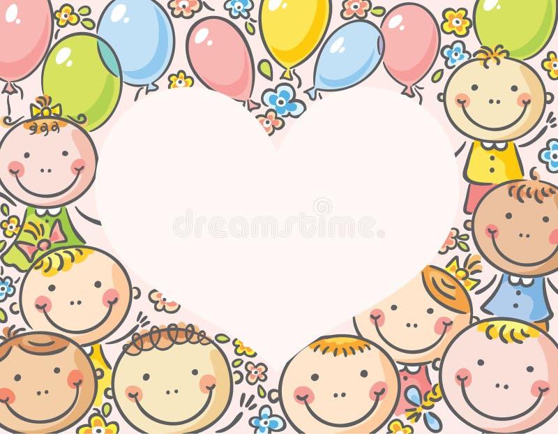 Hjärta-formad ram med ungar royaltyfri illustrationer