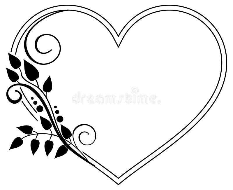 Hjärta-formad svartvit ram med blom- konturer Rast royaltyfri illustrationer