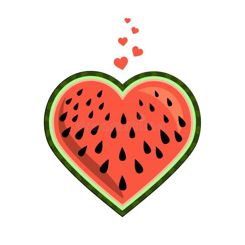 Hjärta-formad vattenmelonskiva Ljus sommardesign textil emballage f?r objektbana f?r bakgrund clipping isolerad white saftig fruk vektor illustrationer