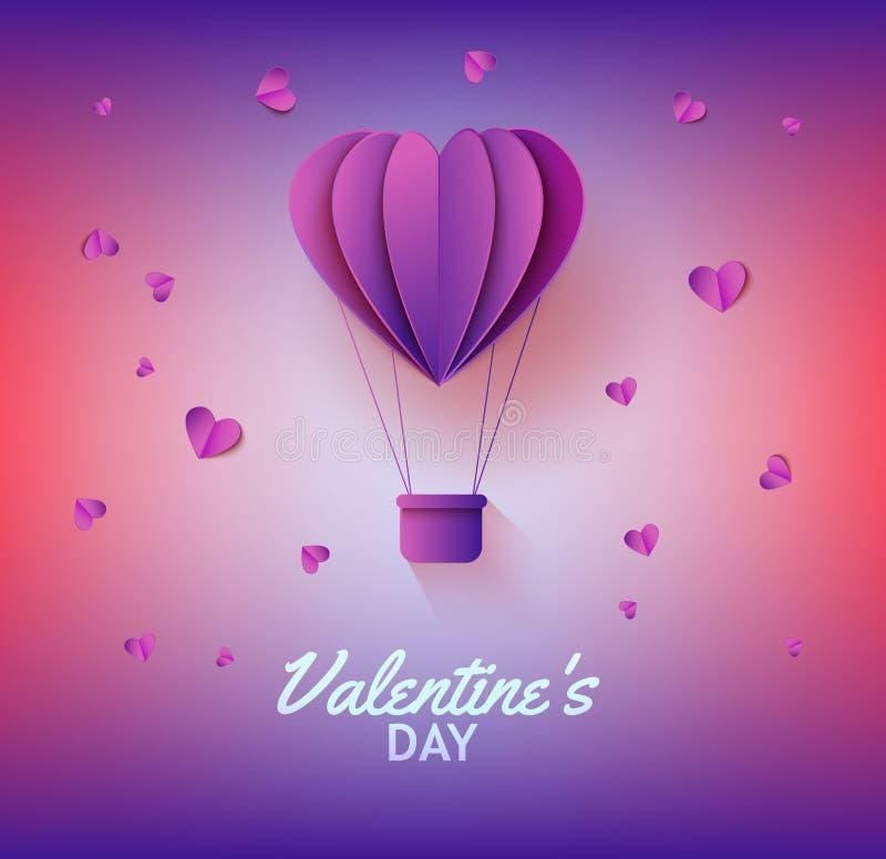 Hjärta formade ballongen för varm luft i pappers- konst på lutningbakgrund för kort för valentindaghälsning stock illustrationer