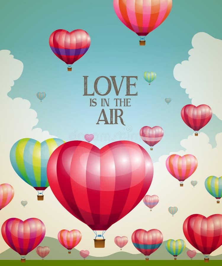 Hjärta-formade ballonger för varm luft som tar av royaltyfri illustrationer
