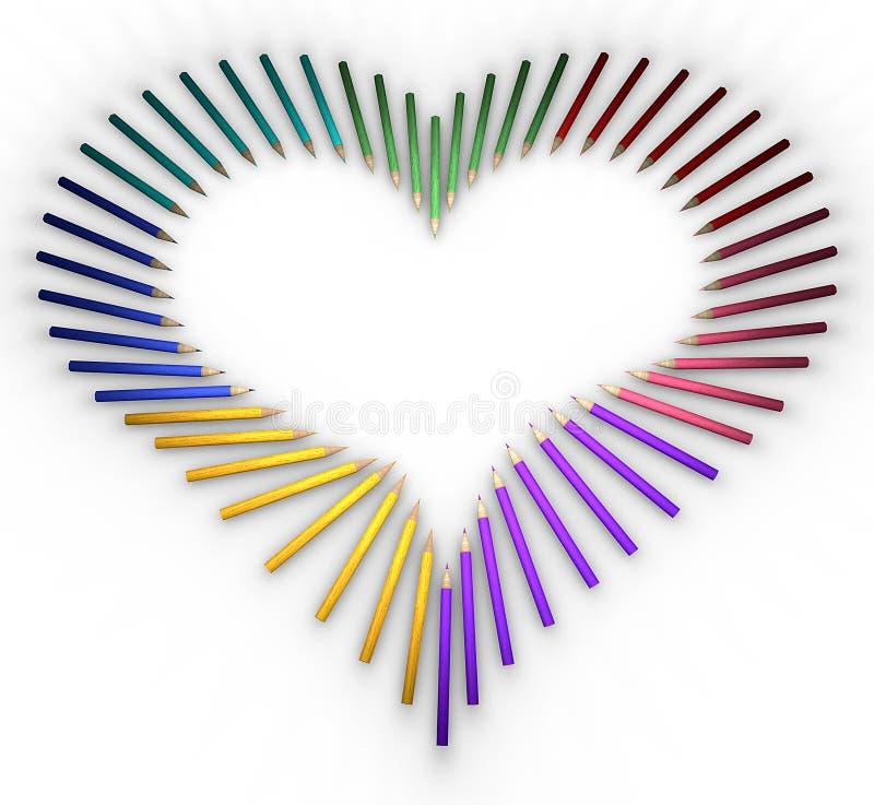 Hjärta-formade blyertspennor stock illustrationer