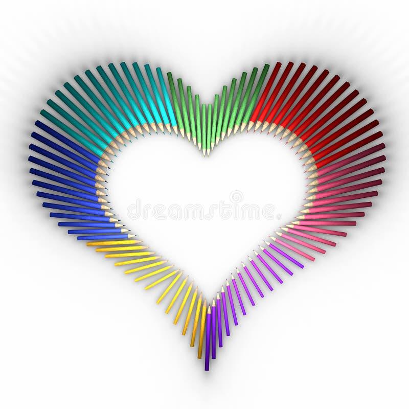 Hjärta-formade blyertspennor vektor illustrationer