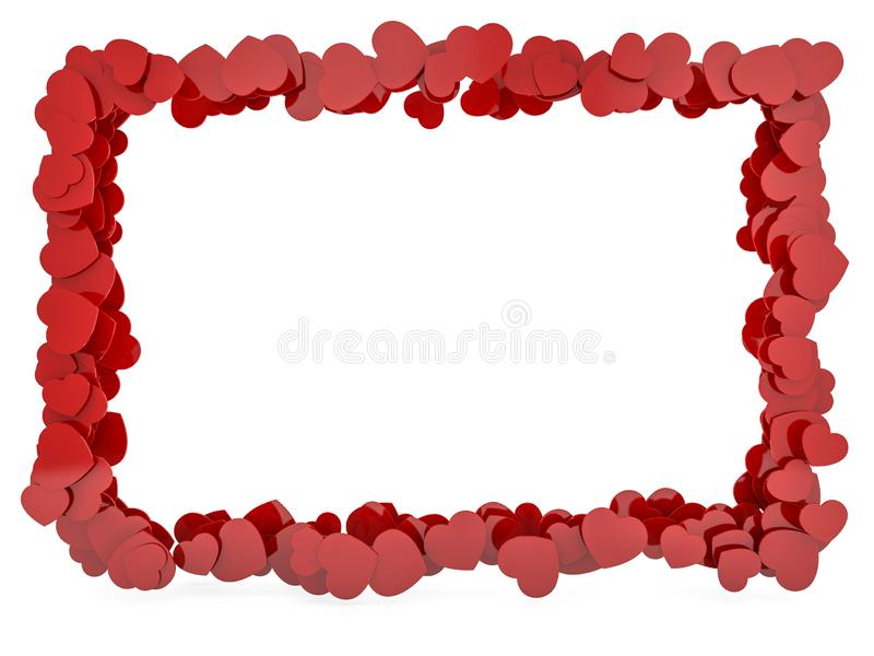 Hjärta formade den glansiga plast- ramen som isolerades på vit 3d royaltyfri illustrationer