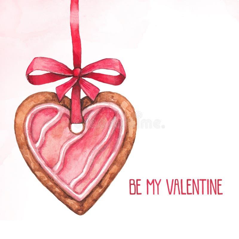 Hjärta formade kakor för valentindag royaltyfri illustrationer