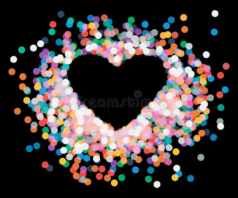 Hjärta formade konfettier som ner faller stock illustrationer