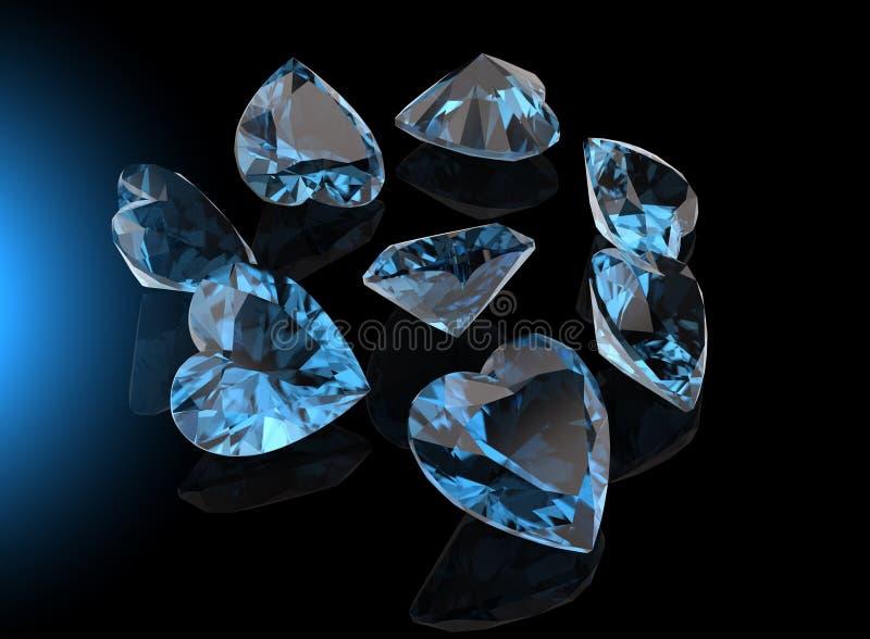 Hjärta formar gemstonen markis för samlingsgemssmycken royaltyfri bild