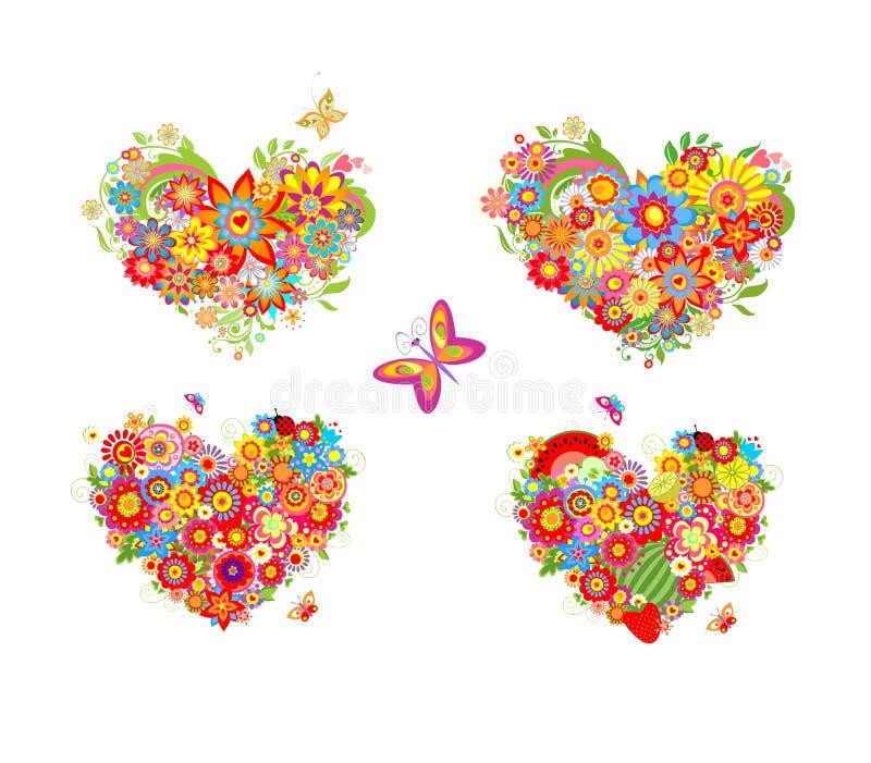 Hjärta formar med färgrika blommor och frukter stock illustrationer