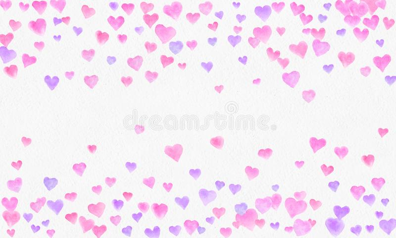 Hjärta formar vattenfärgbakgrund Romantisk konfettifärgstänk Bakgrund med hjärtakonfettier Falla röda och rosa pappers- hjärtor arkivbilder