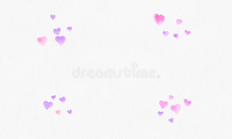 Hjärta formar vattenfärgbakgrund Romantisk konfettifärgstänk Bakgrund med hjärtakonfettier Falla röda och rosa pappers- hjärtor arkivbild