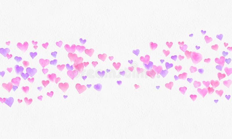 Hjärta formar vattenfärgbakgrund Romantisk konfettifärgstänk Bakgrund med hjärtakonfettier Falla röda och rosa pappers- hjärtor fotografering för bildbyråer