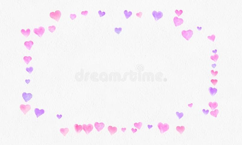 Hjärta formar vattenfärgbakgrund Romantisk konfettifärgstänk Bakgrund med hjärtakonfettier Falla röda och rosa pappers- hjärtor n royaltyfri fotografi