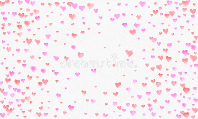 Hjärta formar vattenfärgbakgrund Romantisk konfettifärgstänk Bakgrund med hjärtakonfettier Falla röda och rosa pappers- hjärtor vektor illustrationer