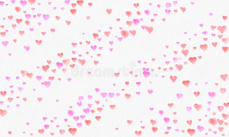 Hjärta formar vattenfärgbakgrund Romantisk konfettifärgstänk Bakgrund med hjärtakonfettier Falla röda och rosa pappers- hjärtor royaltyfri illustrationer