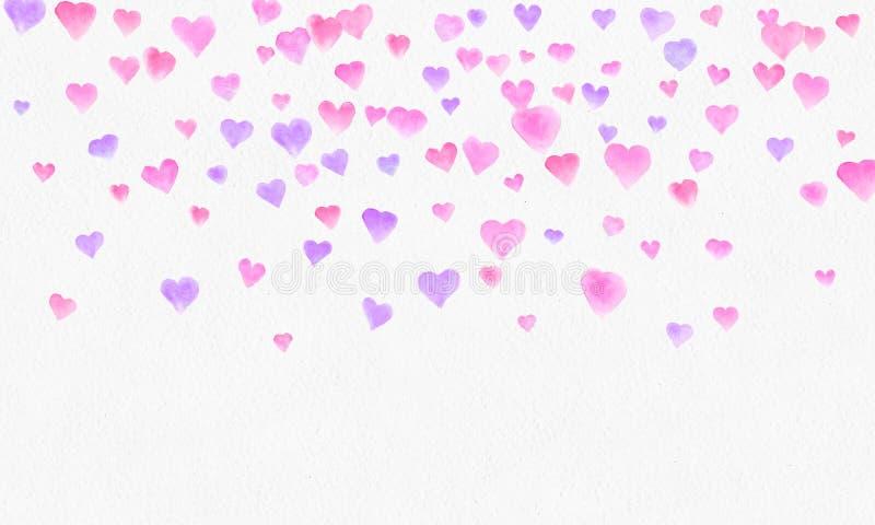 Hjärta formar vattenfärgbakgrund Romantisk konfettifärgstänk Bakgrund med hjärtakonfettier Falla röda och rosa pappers- hjärtor n vektor illustrationer