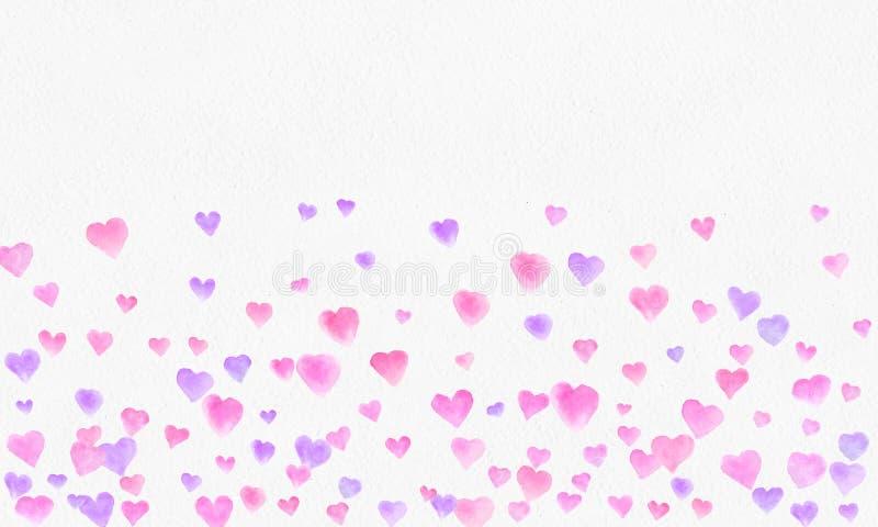 Hjärta formar vattenfärgbakgrund Romantisk konfettifärgstänk Bakgrund med hjärtakonfettier Falla röda och rosa pappers- hjärtor stock illustrationer