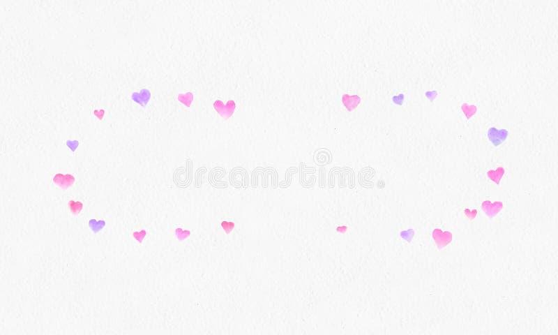 Hjärta formar vattenfärgbakgrund Romantisk konfettifärgstänk Falla röda och rosa pappers- hjärtor Hälsningbröllopkort fotografering för bildbyråer