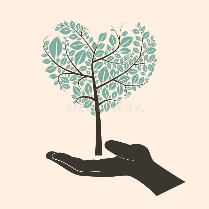Hjärta format abstrakt begreppgräsplanträd i mänsklig hand för kontur vektor illustrationer