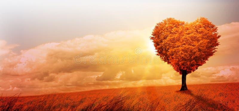 Hjärta format träd i ett overkligt landskap royaltyfri fotografi