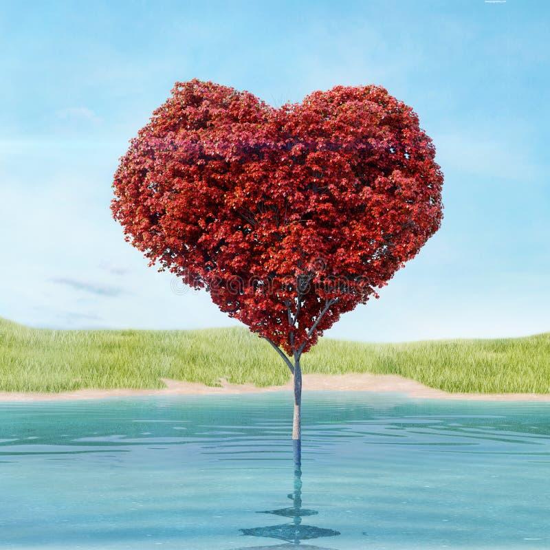 Hjärta format träd med röda sidor som växer i sjön i gräsfältet stock illustrationer