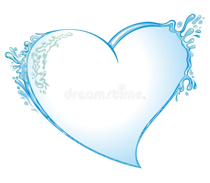 Hjärta från bevattnar färgstänk royaltyfri illustrationer