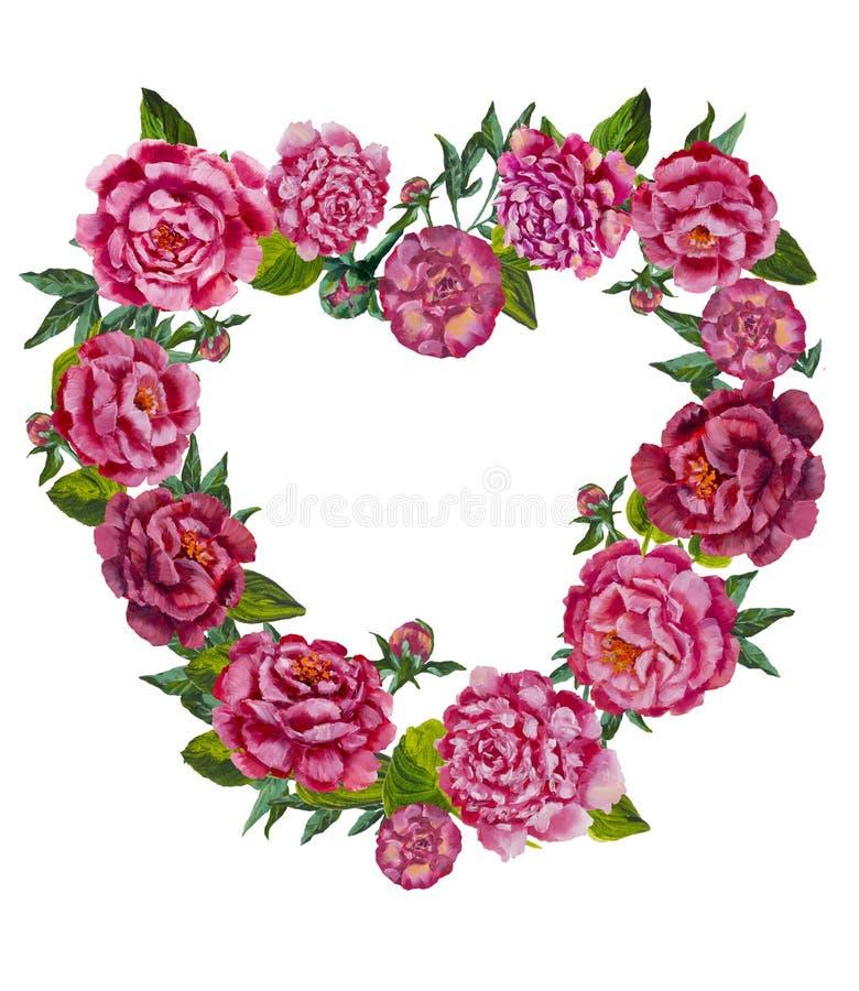 Hjärta från blommabakgrundsmodell Vattenfärgblommahjärta Gullig valentinhjärta med blommor stock illustrationer