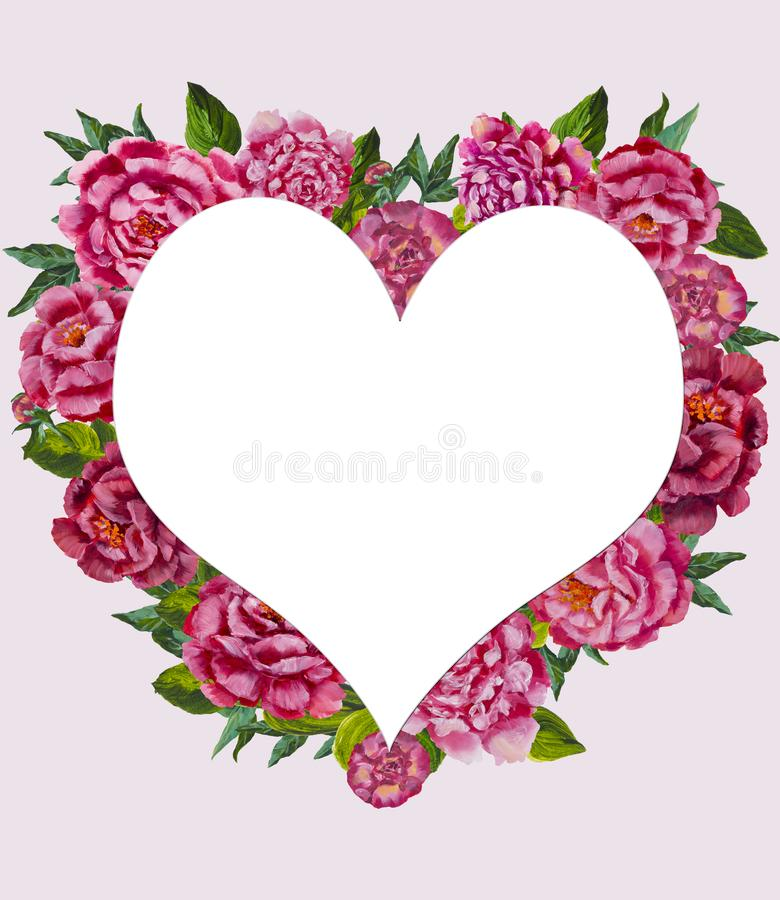 Hjärta från blommabakgrundsmodell Vattenfärgblommahjärta Gullig valentinhjärta med blommor vektor illustrationer