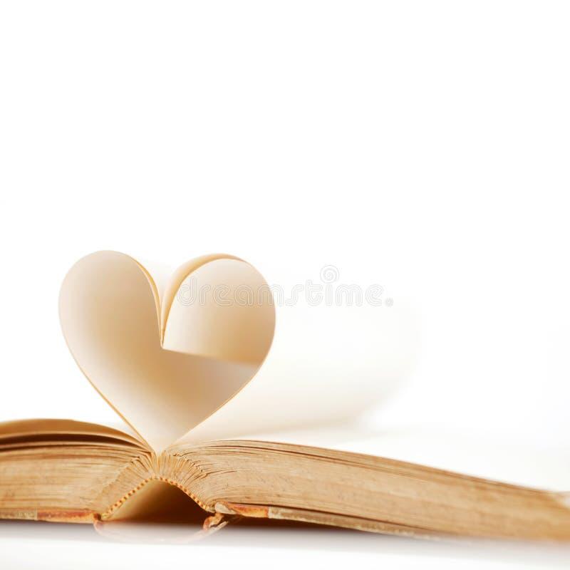 Hjärta från boksidor arkivbild