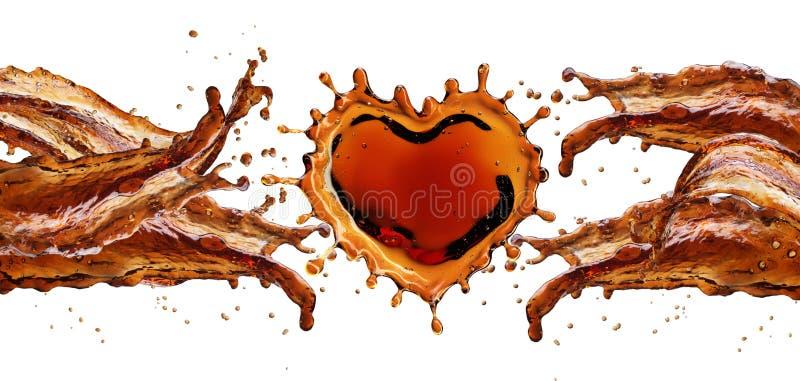 Hjärta från colafärgstänk med bubblor som isoleras på vit arkivfoto