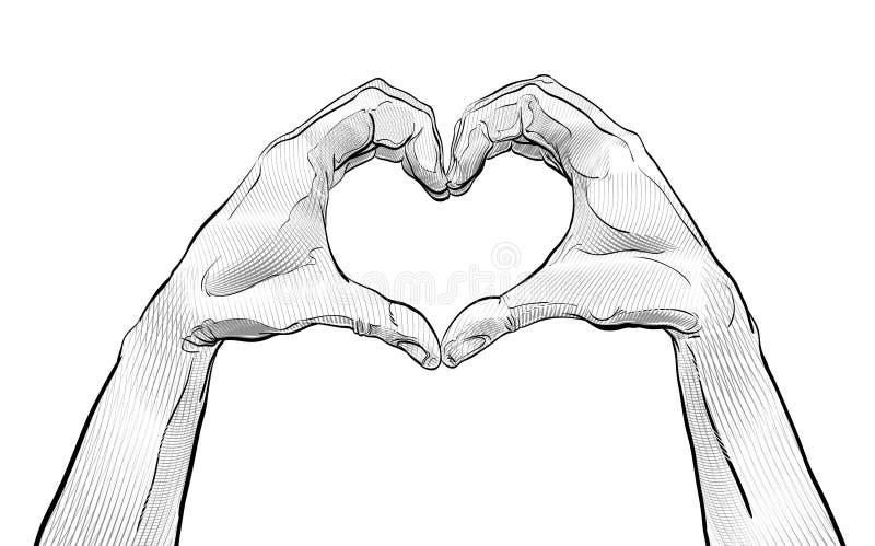 Hjärta från handen hands att forma för hjärta från handen Symbol av förälskelse och hjälp royaltyfri illustrationer