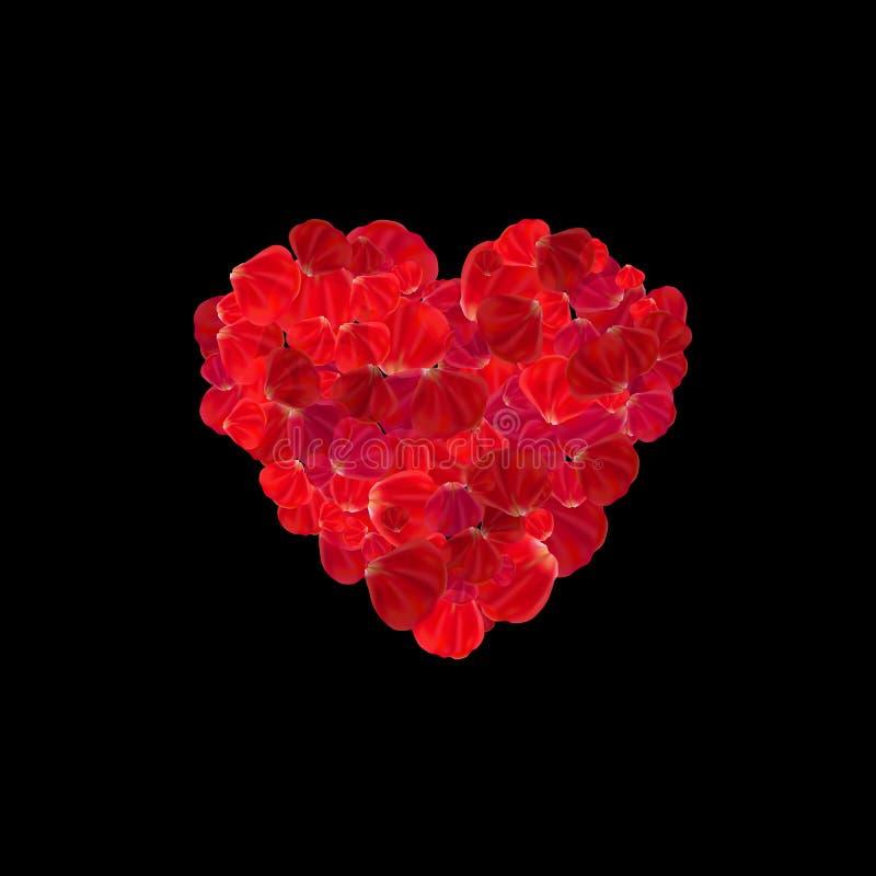 Hjärta gjorde från isolerade röda rosa kronblad på mörk bakgrund royaltyfri illustrationer