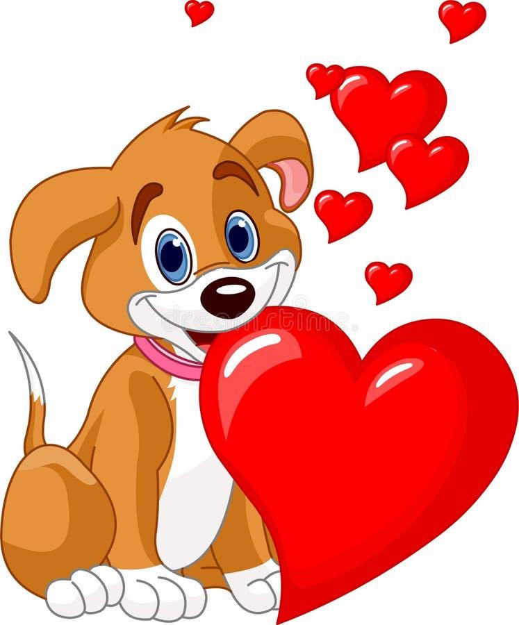 hjärta henne red för holdingmunvalp stock illustrationer