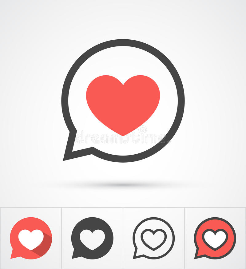 Hjärta i anförandebubblasymbol vektor royaltyfri illustrationer