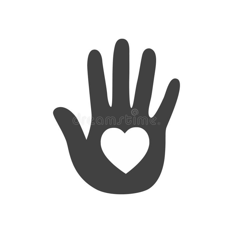 Hjärta i en räcka gears symbolen royaltyfri illustrationer