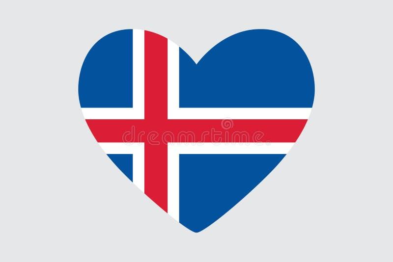 Hjärta i färger och symboler av Island sjunker, stock illustrationer