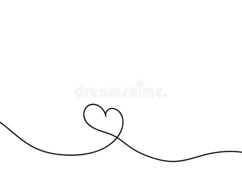 Hjärta i fortlöpande teckningslinjer Fortlöpande svart linje Arbetet av den plana designen Symbol av förälskelse och mjukhet royaltyfri illustrationer