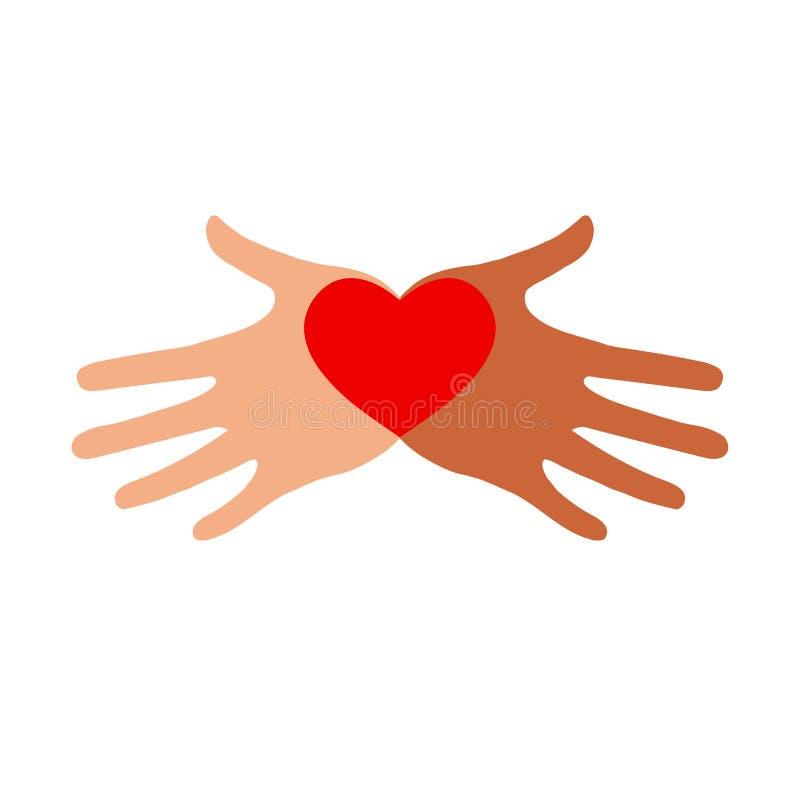 Hjärta i händer på en vit bakgrund Färgsymbol stock illustrationer