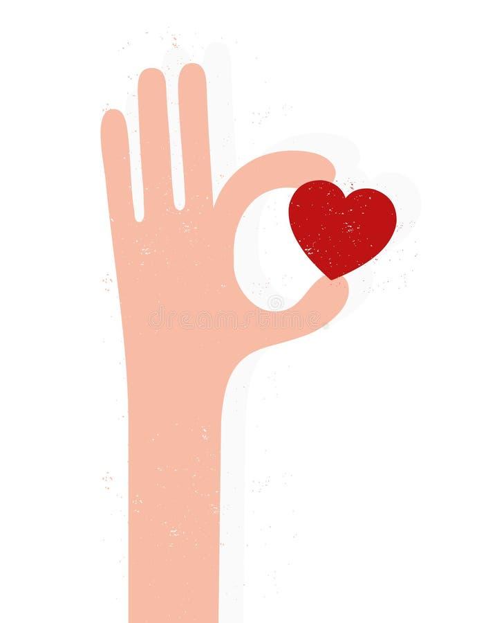 Hjärta i hand royaltyfri illustrationer