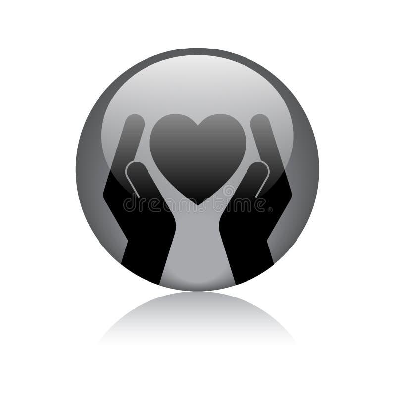 Hjärta i handlogo vektor illustrationer