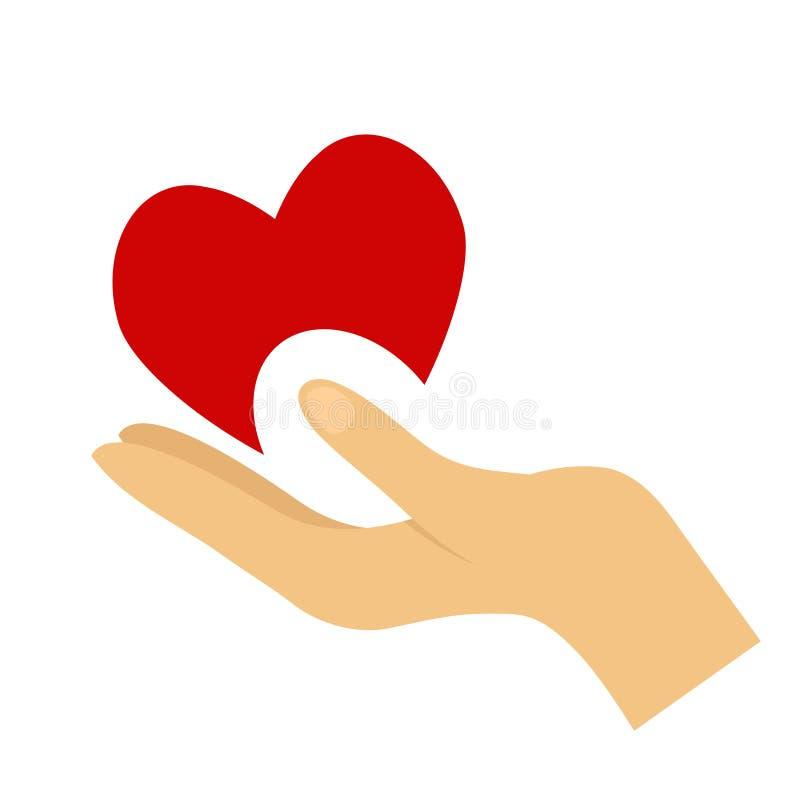 Hjärta i handsymbolet, tecken, symbol, logomall för välgörenhet, hälsa, frivilligt bidrag, non vinstorganisation royaltyfri illustrationer