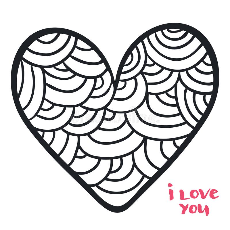 Hjärta i klotterstil Vektorillustration för färgläggningbok påfylld vektor för valentin för bakgrundsdagformat stock illustrationer