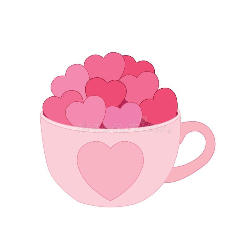 Hjärta i koppen på vit bakgrund royaltyfri illustrationer