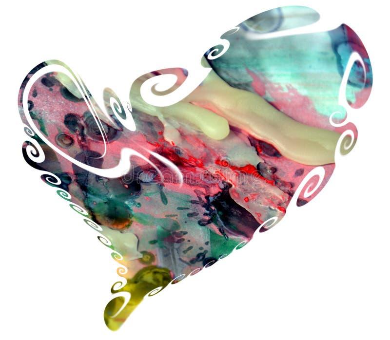 Hjärta i vattenfärgtoner och vax royaltyfria foton